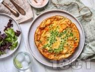 Рецепта Фритата с пресни картофи, яйца, грах и козе сирене